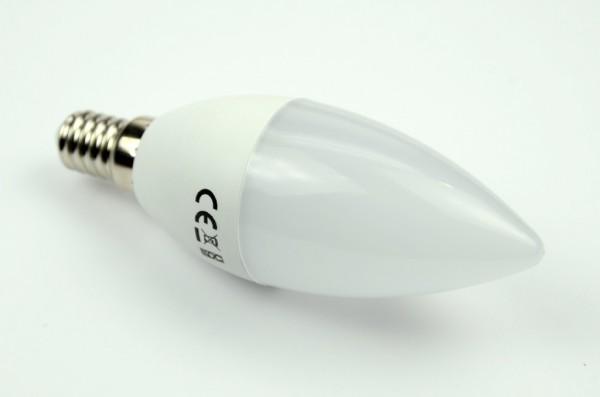 E14 LED-Kerze LED4x1K14LmKW Hochvolt DC-kompatibel (gleichstrom-fähig) kaltweiss (6500°K) 24 Stundenbetrieb. Einsetzbar im Spannungsbereich: 85-265V AC