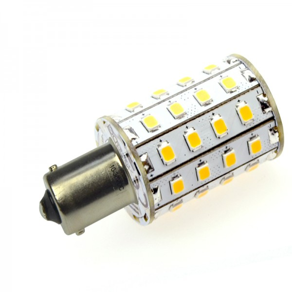 BA15S LED-Bajonettsockellampe LED48STBASL Niedervolt DC-kompatibel (gleichstrom-fähig) warmweiss (2700°K) . Einsetzbar im Spannungsbereich: 10-18V AC