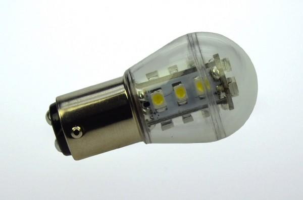 BA15D LED-Miniglobe LED15G25BADLKW Niedervolt DC-kompatibel (gleichstrom-fähig) kaltweiss (6000°K) dimmbar. Einsetzbar im Spannungsbereich: 10-18V AC