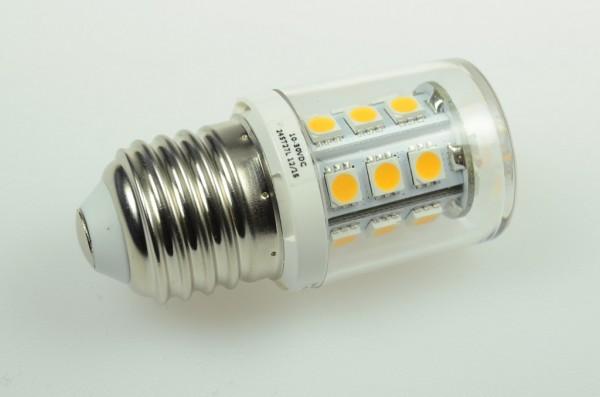 E27 LED-Stiftsockellampe LED24ST27L Niedervolt DC-kompatibel (gleichstrom-fähig) warmweiss (3000°K) dimmbar. Einsetzbar im Spannungsbereich: 10-18V AC