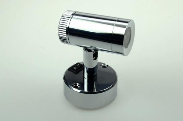 LED-Leseleuchte Niedervolt DC-kompatibel (gleichstrom-fähig) LED1x1S22SD warmweiss (3000°K) Schalter, integrierter Dimmer. Einsetzbar im Spannungsbereich: 10-16V DC