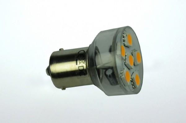 BA15S LED-Bajonettsockellampe LED6MBASL Niedervolt DC-kompatibel (gleichstrom-fähig) warmweiss (3000°K) dimmbar. Einsetzbar im Spannungsbereich: 10-18V AC