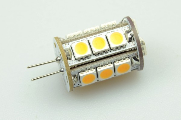 G4 LED-Stiftsockellampe LED18STG4L Niedervolt DC-kompatibel (gleichstrom-fähig) warmweiss (3000°K) dimmbar. Einsetzbar im Spannungsbereich: 10-18V AC