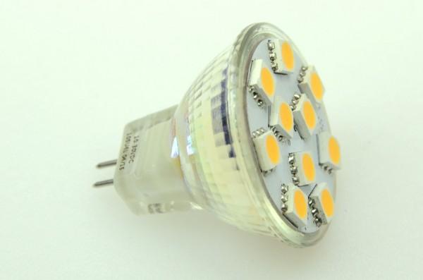 GU4 LED-Spot MR11 LED10SU4L Niedervolt DC-kompatibel (gleichstrom-fähig) warmweiss (3000°K) dimmbar. Einsetzbar im Spannungsbereich: 10-18V AC