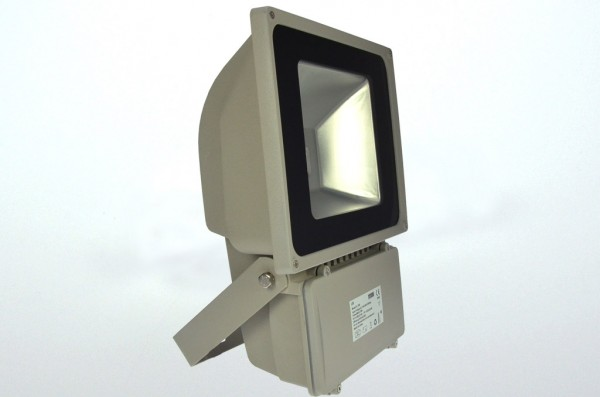 LED-Flutlichtstrahler Hochvolt DC-kompatibel (gleichstrom-fähig) LED70F22Lo warmweiss (3000°K) . Einsetzbar im Spannungsbereich: 100-240V AC 120-230V DC