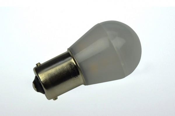 BA15S LED-Miniglobe LED15G25BASLm Niedervolt DC-kompatibel (gleichstrom-fähig) warmweiss (2900°K) matt. Einsetzbar im Spannungsbereich: 10-18V AC