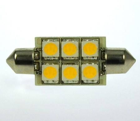 S8x37 LED-Soffitte LED6So37L Niedervolt DC-kompatibel (gleichstrom-fähig) warmweiss (3000°K) dimmbar. Einsetzbar im Spannungsbereich: 10-18V AC