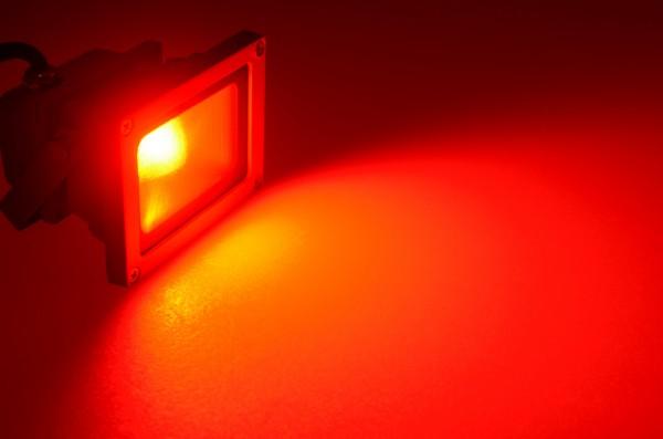 LED-Flutlichtstrahler Hochvolt LED9F22Lroo rot . Einsetzbar im Spannungsbereich: 100-240V AC