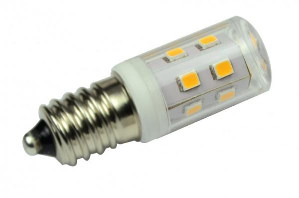 E14 LED-Tubular LED15TU14L Hochvolt DC-kompatibel (gleichstrom-fähig) warmweiss (2900°K) kleine Bauform. Einsetzbar im Spannungsbereich: 220-240V AC
