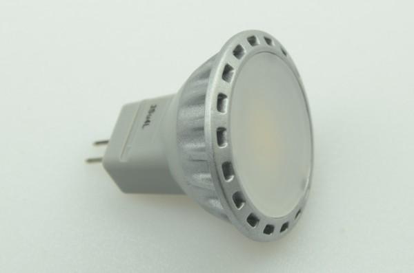GU4 LED-Spot MR11 LED3Su4L Niedervolt DC-kompatibel (gleichstrom-fähig) warmweiss (3000°K) dimmbar. Einsetzbar im Spannungsbereich: 12V AC