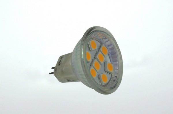 GU4 LED-Spot MR11 LED8SU4L Niedervolt DC-kompatibel (gleichstrom-fähig) warmweiss (3000°K) . Einsetzbar im Spannungsbereich: 10-18V AC