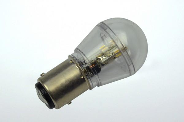 BAY15D LED-Miniglobe LED16G25BAYL Niedervolt DC-kompatibel (gleichstrom-fähig) warmweiss (3000°K) dimmbar. Einsetzbar im Spannungsbereich: 10-18V AC
