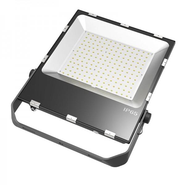 LED-Flutlichtstrahler Hochvolt DC-kompatibel (gleichstrom-fähig) LED150FV4A22LoKW kaltweiss (5000°K) für extreme Luftfeuchte. Einsetzbar im Spannungsbereich: 100-277V AC 80-269V DC