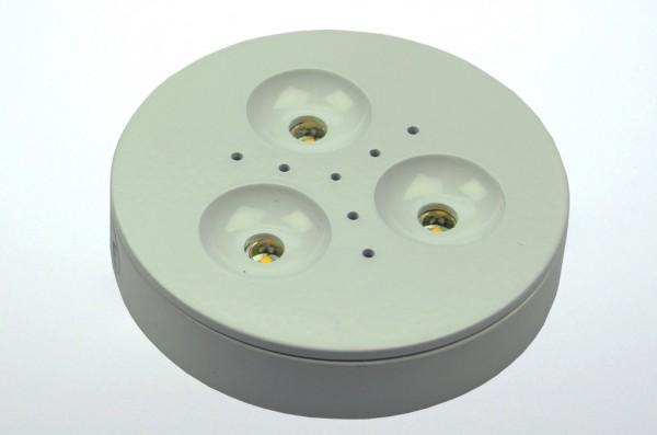 LED-Aufbauleuchte Niedervolt DC-kompatibel (gleichstrom-fähig) LED3x1CPLW warmweiss (3000°K) . Einsetzbar im Spannungsbereich: 12-24V DC