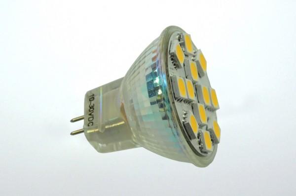 GU4 LED-Spot MR11 LED12SU4L Niedervolt DC-kompatibel (gleichstrom-fähig) warmweiss (3000°K) dimmbar. Einsetzbar im Spannungsbereich: 10-18V AC