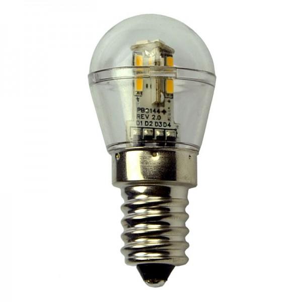 E14 LED-Miniglobe LED16G2514L Niedervolt DC-kompatibel (gleichstrom-fähig) warmweiss (3000°K) dimmbar. Einsetzbar im Spannungsbereich: 10-18V AC