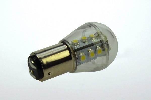 BAY15D LED-Miniglobe LED15G25BAYL Niedervolt DC-kompatibel (gleichstrom-fähig) warmweiss (3000°K) dimmbar. Einsetzbar im Spannungsbereich: 10-18V AC
