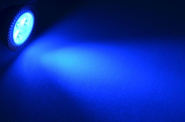 GU5.3 LED-Spot PAR16 LED3x1S53Sbl Niedervolt DC-kompatibel (gleichstrom-fähig) Blau (450 - 470 nm°K) . Einsetzbar im Spannungsbereich: